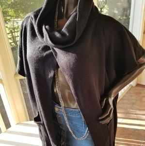 Sweaters - Black Cape w/ Fringe & Pockets- One Size Fits most